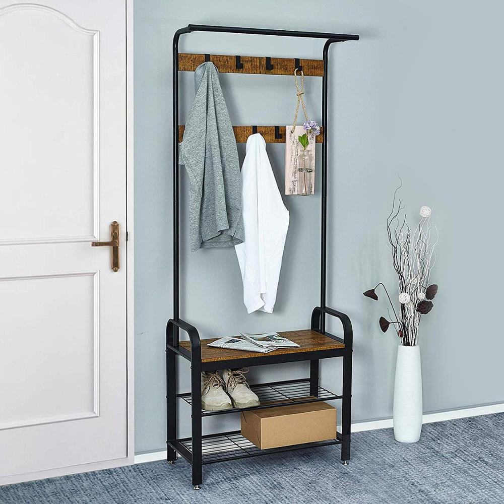 Floor Standing Iron Clothes Hanging Storage Coat Rack Hangers Clothes Hanger Racks Wardrobe Bedroom Furniture