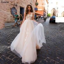 LORIE A-Line Wedding Dress Champagne Tulle Boho Bride Dresses Backless Vestido De Novia Princess Party