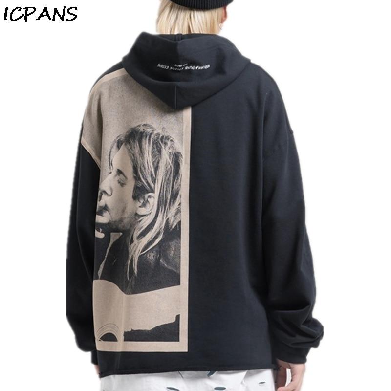 ICPANS Kurt Cobain Print Hoodies Men Punk Rock Pullover Hip Hop Casual  Hooded Sweatshirts Streetwear 2020 Fashion Hoodie Tops
