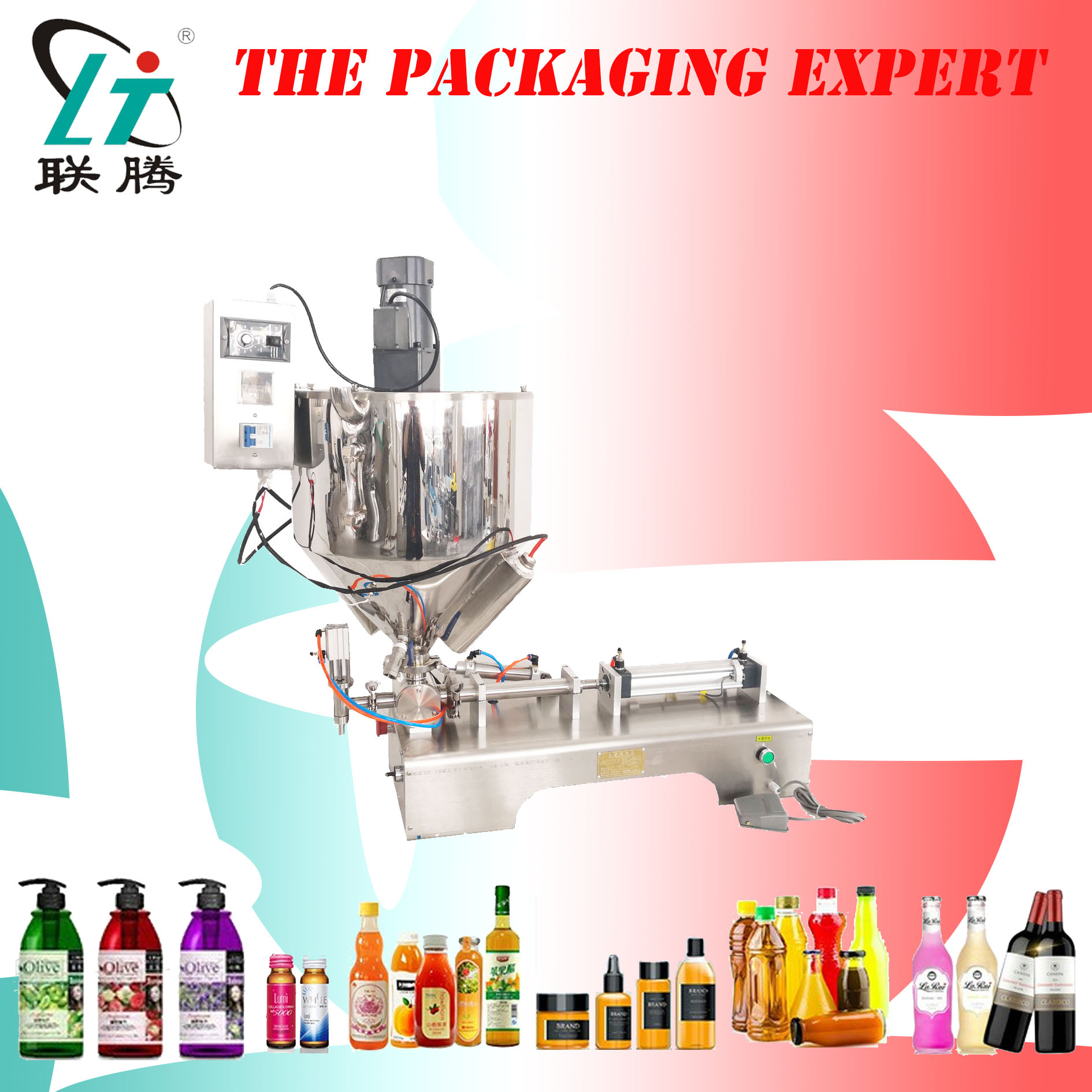 Paste Filling Machine With Heating Mixing Hopper Chocolate Honey Cream Hot Juice Sauce Jam Jar Filler Pneumatic Piston Filler