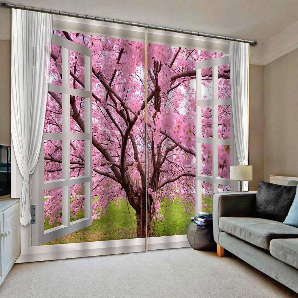 pink tree curtains window curtain Customized size Luxury Blackout 3D Window Curtains For Living Room blackout curtains