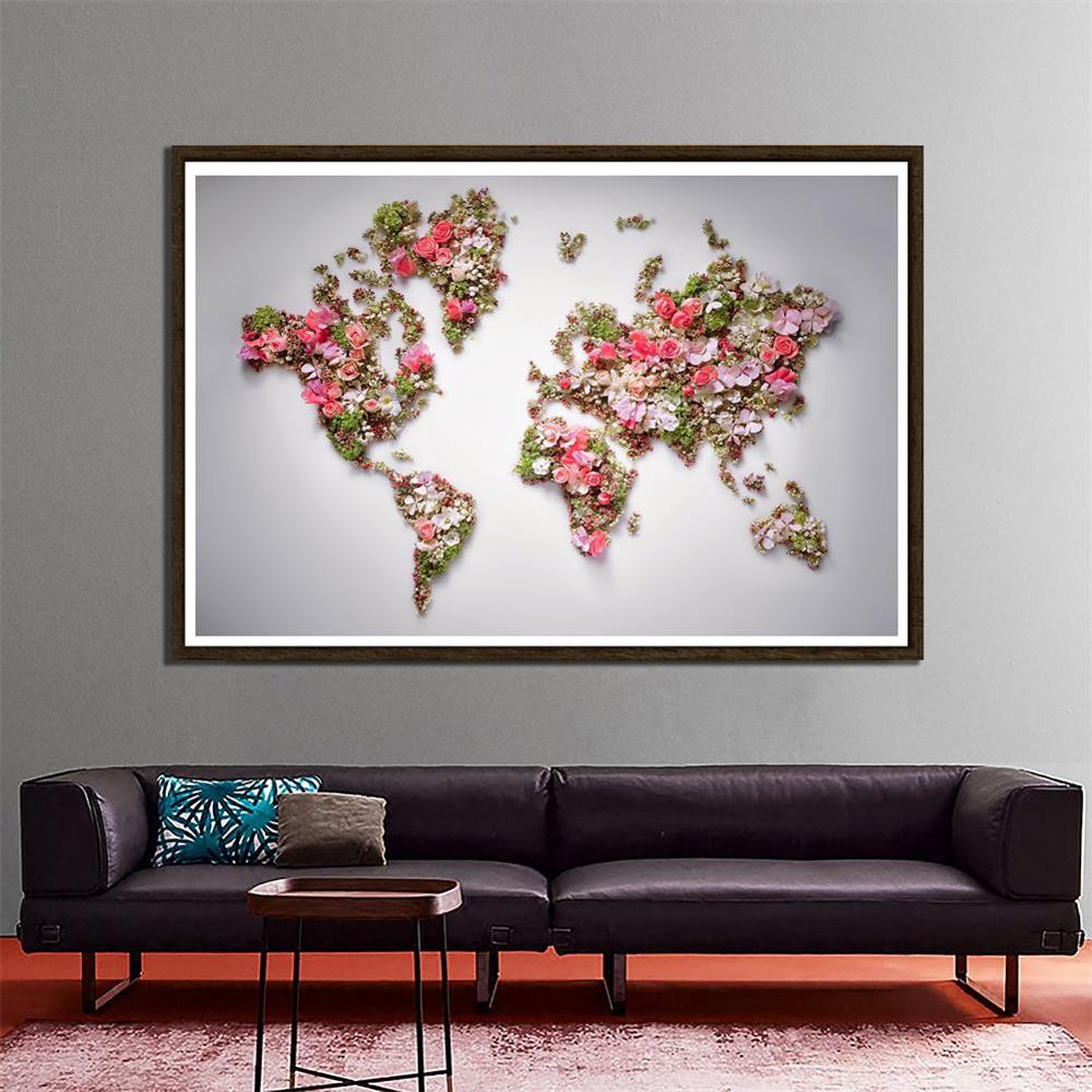 150x225cm Non-woven DIY World Map Made With Beautiful Flowers For Home Office Wall Decor