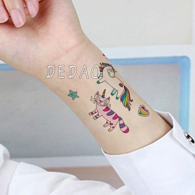 10pcs Kids Tattoo Temporary Tattoos Cartoon Unicorn Horse Fake Tattoo Sticker Waterproof Tatto Art Tatoo Hand Arm For Child Boy 3