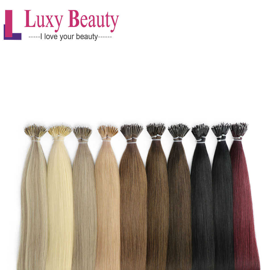"LuxyBeauty Nano Hair Extensions 12"" 1g/pc Machine Made Remy Micro Ring Nano Bead Hair Micro Link Hair Extensions 8Colors"