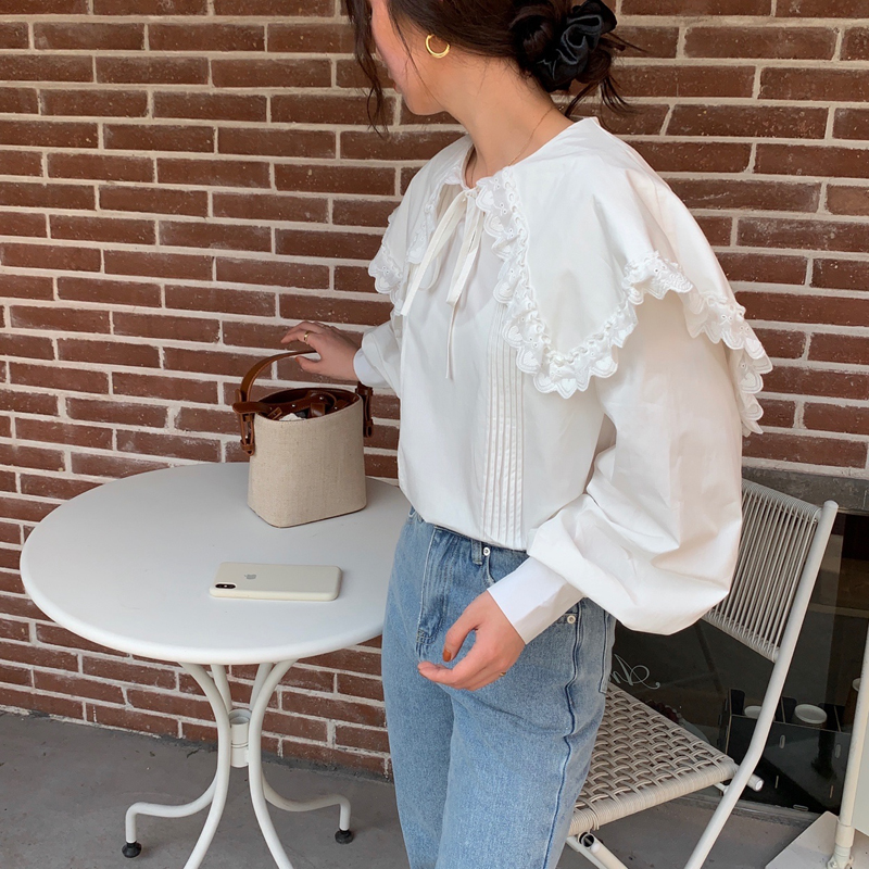 H8736cf656d52411f8691936093c7bca7u - Spring / Autumn Lace-Up Collar Long Sleeves Loose pleated Solid Blouse