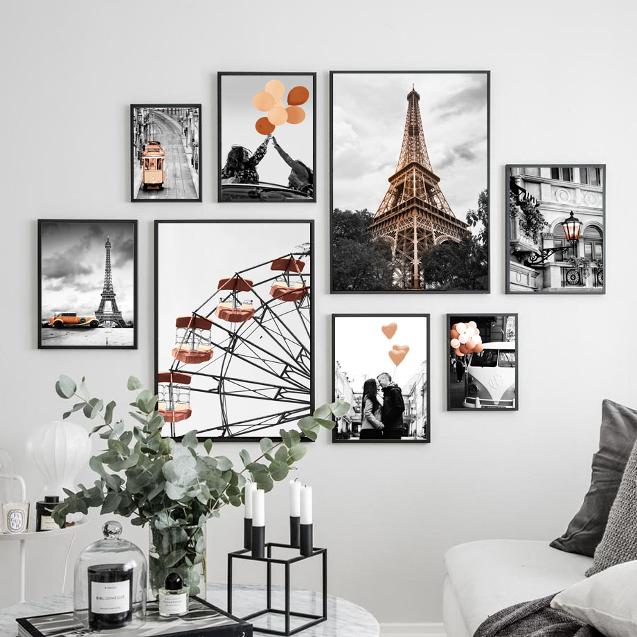 Black White Paris Tower Ferris <font><b>Wheel</b></font> <font><b>Car</b></font> Wall Art Canvas <font><b>Painting</b></font> Nordic Posters And Prints Wall Pictures For Living Room Decor image
