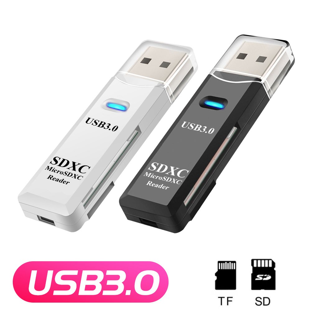 2 IN 1 Card Reader USB 3.0 Micro SD TF Card Memory Reader High Speed Multi-card Writer Adapter Flash Drive Laptop Accessories