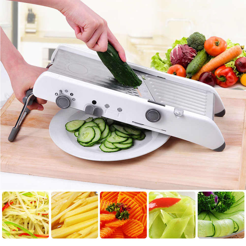 Mandrel Profesional Vegetable Cutter Alat Pemotong Sayur Parutan dengan Adjustable 304 Stainless Steel Pisau Dapur Aksesoris