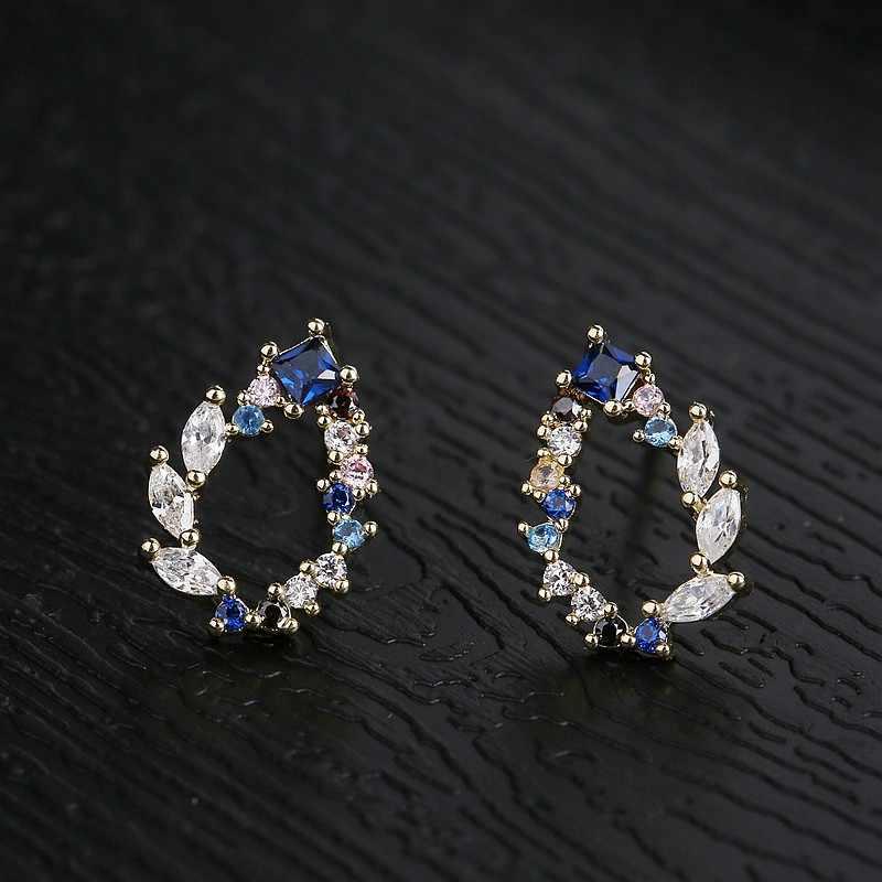 MIGGA délicat bleu cubique Zircon goutte d'eau boucles d'oreilles couleur or mode femmes boucles d'oreilles bijoux