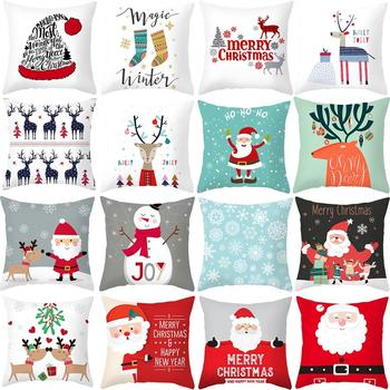 Merry Christmas Decorations For Home Reindeer Santa Claus Tree Cushion Cover Christmas Ornament 2020 Xmas Gift New Year 2021 christmas xmas elk display window new year ornament simulation deer decorations reindeer simulated toy kids gift