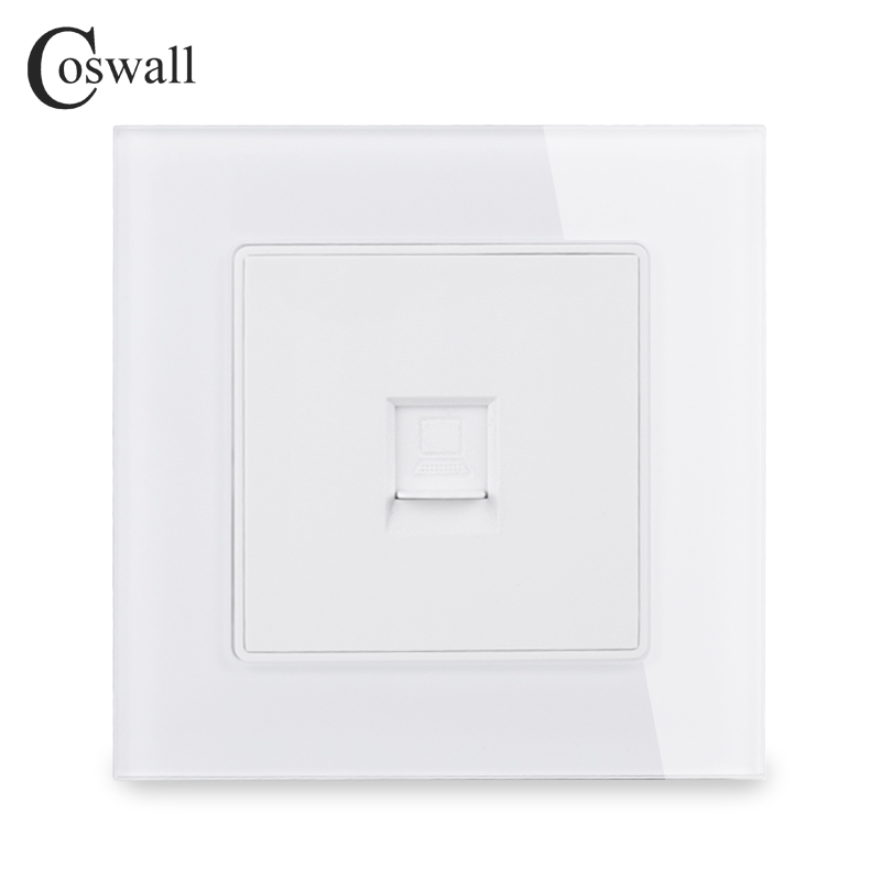 COSWALL Crystal Tempered Glass Panel Wall Socket 1 Gang RJ45 CAT5E Internet Computer Data Connector C1 Series