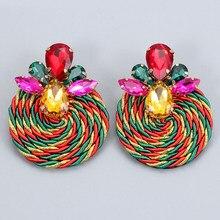 Atacado novo estilo colorido brincos de cristal de luxo strass artesanal redondo gota brinco charme jóias acessórios para mulher