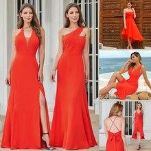 פשוט ערב שמלות ארוך פעם די אונליין צווארון V שרוולים צד פיצול אלגנטי רשמי המפלגה כותנות Długa Sukienka 2020