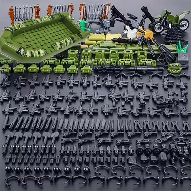Legoings série militar bloco de construção tijolos brinquedos para crianças cidade swat polícia arma armas pacote exército ww2 arma acessórios