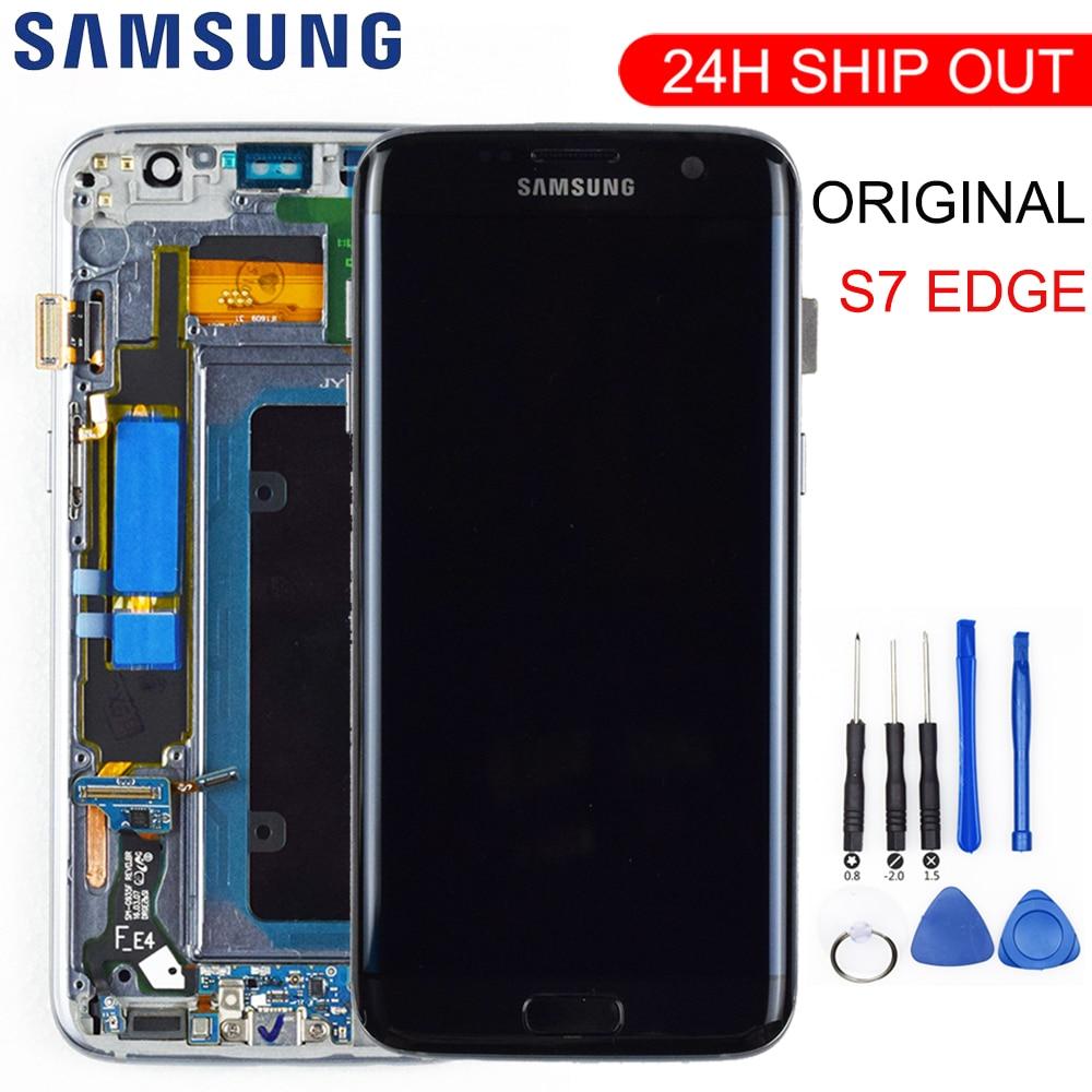 Orijinal 5.5 ''süper AMOLED LCD için çerçeve ile SAMSUNG Galaxy s7 kenar G935 G935F dokunmatik ekran digitizer ekran + servis paketi