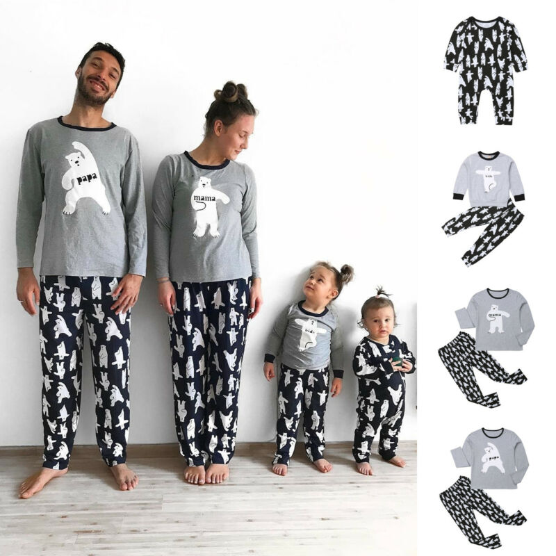 Christmas Casual Family Matching Pajamas Set Women Men Baby Kids Bear Print Sleepwear Nightwear Autumn Winter Clothes