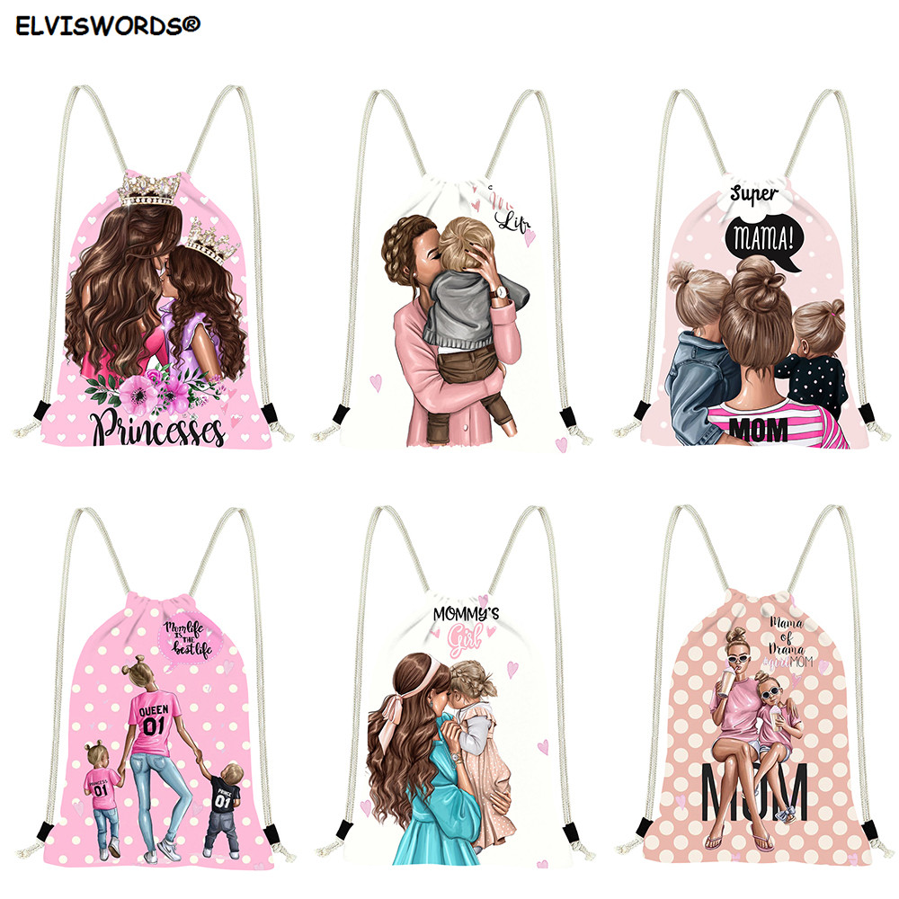 ELVISWORDS Customize Logo Backpacks Drawstring Super Mom/Mother Printing Casual Shopping Bags Yoga Gym Bag Travel Stroage Bags
