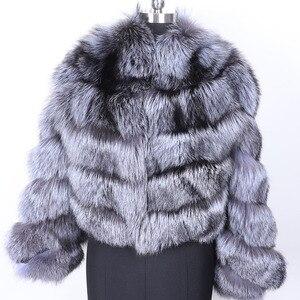 Image 2 - MAO mao KÔNG mùa đông thực cáo lông Áo khoác nữ vải dù tự nhiên thật cáo lông nữ áo khoác nữ áo Khoác Da Lót Lông