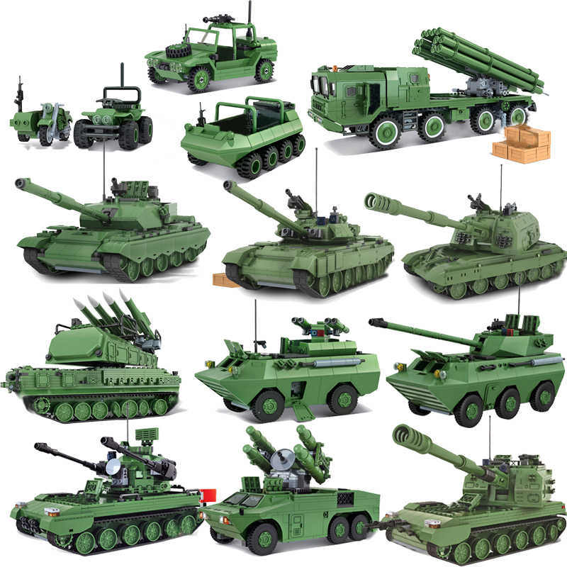 QWZ Large Panzer Tank Building Blocks Legoes Military Army Constructor Bricks Educational Toys for Children Gifts
