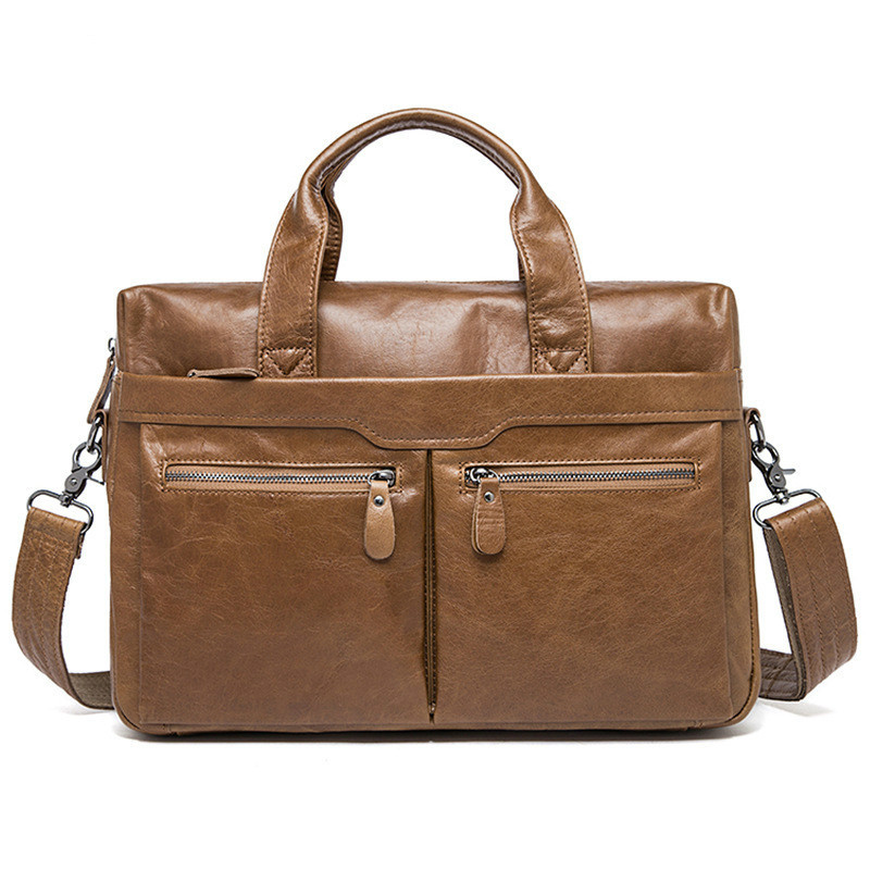 Man Handbag Single Shoulder Briefcase Genuine Leather Business Affairs Male Package Leisure Time Head Layer Cowhide computer bag