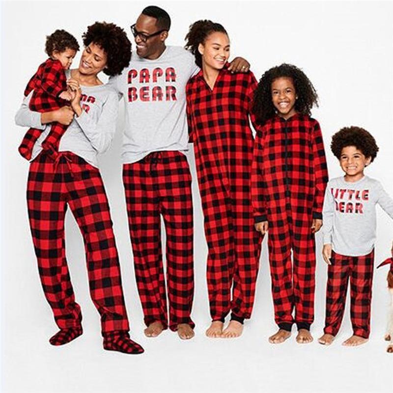 Christmas Family Pyjamas Father Mother Kids Baby Matching Clothes Papa Mama Bear Cotton Plaid Pajamas Set H0915
