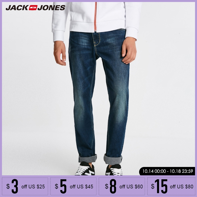 Jack Jones Men Jeans Brand Thick Warm Cotton Solid Straight Jeans Denim Trousers Mens Biker Jeans  218432505-in Jeans from Men's Clothing