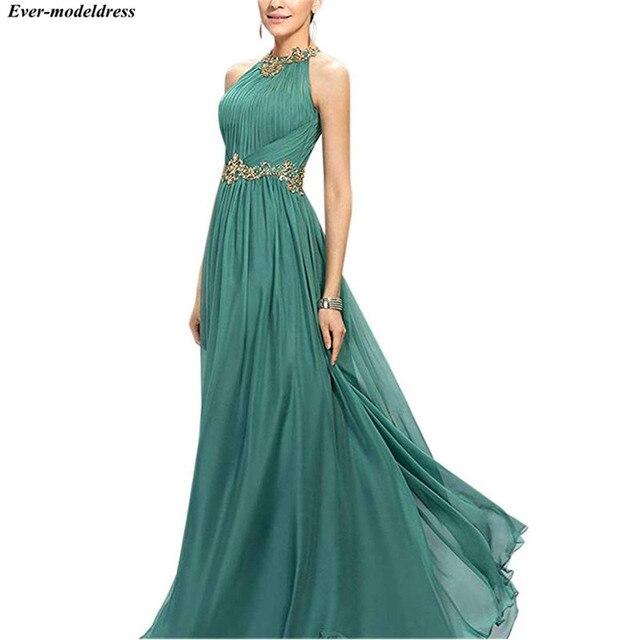 2021 Prom Dresses Long A-Line Pleats Beaded Appliques Empire Chiffon Bridesmaid Dress Elegant Floor Length Evening Party Gowns 2