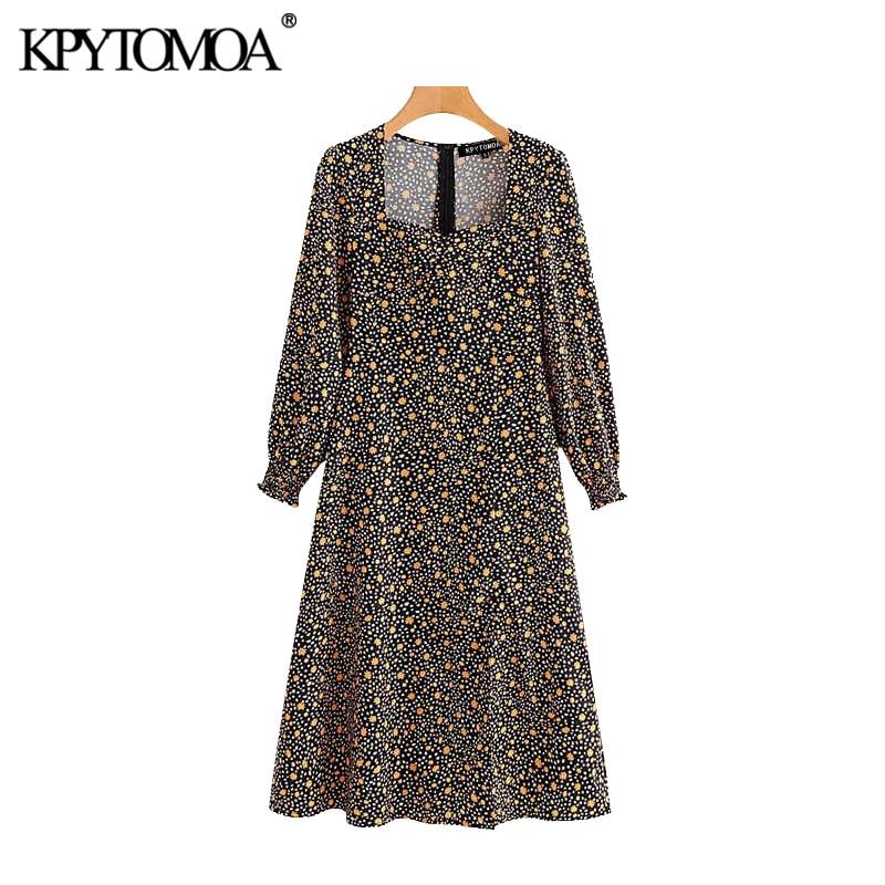 Vintage Chic Floral Print Midi Dress Women 2020 Fashion Square Collar Long Sleeve Back Zipper Front Slit Female Dresses Vestidos