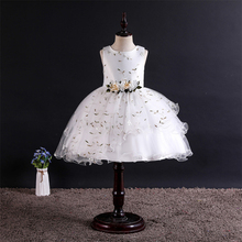 Sleeveless Girl's Dress Fashion Cute Floral Decorative Pattern Mesh Ball Gown O-neck High Quality Princess Dress Formal Dress