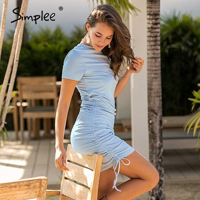 Simplee 半袖女性ボディコン dres カジュアル o ネックレースアップ女性ミニドレス春夏プリーツ女性の鉛筆のドレス新しい