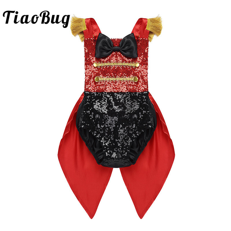 TiaoBug Baby Girls Sleeveless Sequins Bowknot Romper Toddlers Halloween Cosplay Birthday Party Ringmaster Outfit Circus Costume