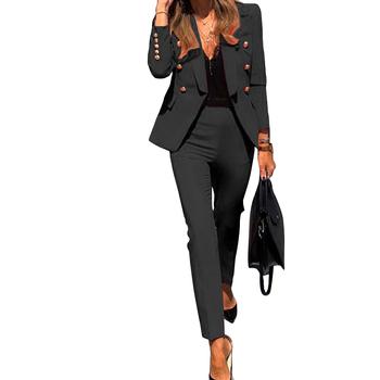 2020 zimowy zestaw damski ząbkowany z pełnym rękawem blezery ołówek spodnie garnitur Office Lady dwuczęściowy zestaw dresy strój codzienny GL806 tanie i dobre opinie CM YAYA CN (pochodzenie) Na wiosnę jesień POLIESTER spandex Z OCTANU Pani urząd Łączone Sukno Acetate REGULAR Z nacięciem