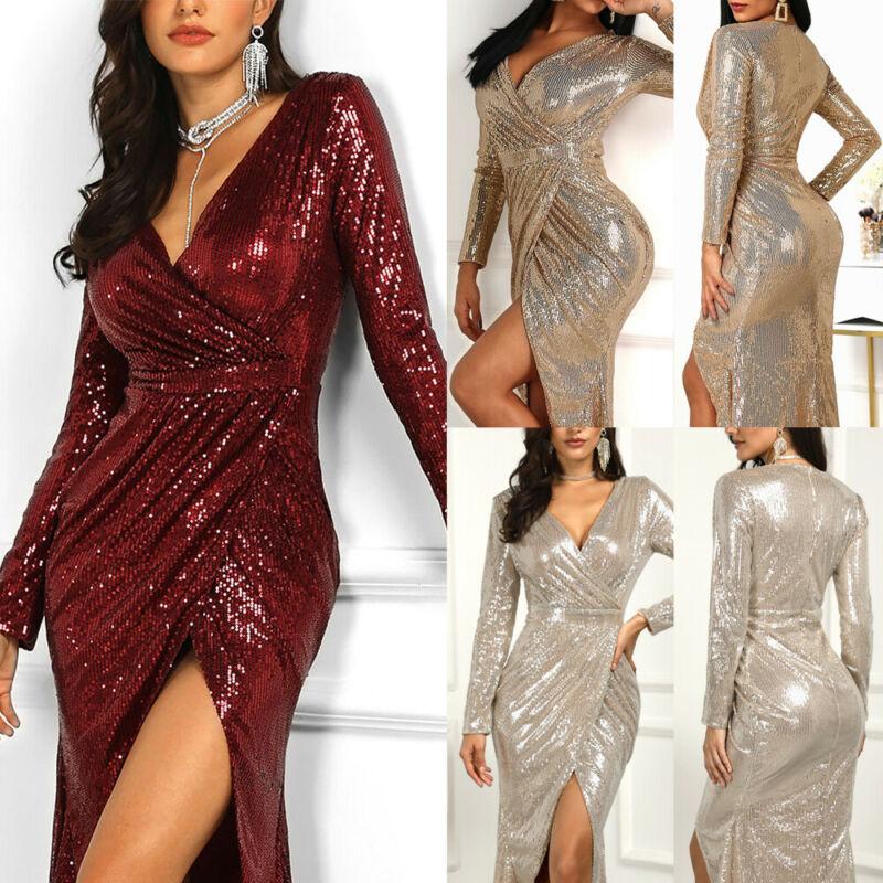 Fashion Women Long Sleeve V-Neck Wrap Club Dress Bodycon Slit Dress Maxi Dress