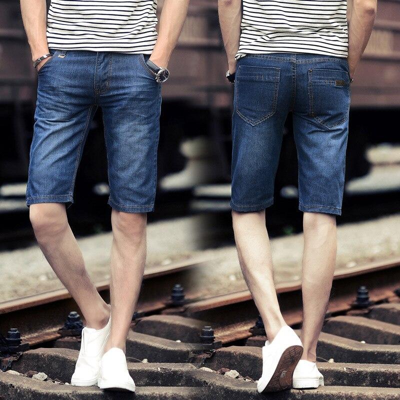 2019 Summer Thin Section Knee-length Denim Shorts Men's Short Capri Slim Fit Straight-Cut Breathable Cool Fashion Denim Shorts M