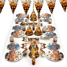 Halloween Candy Pumpkin Head Theme Creative Party Package Decoration Supplies Disposable Tableware Cup Plate