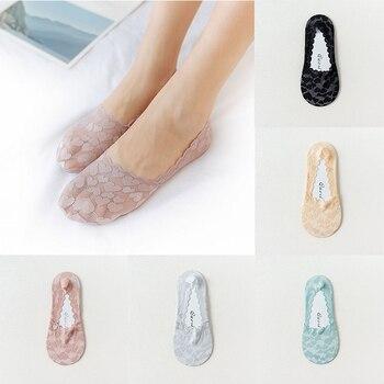 Calcetines tobilleros invisibles de encaje para mujer, sin costuras, de corte bajo, de algodón, para primavera y verano