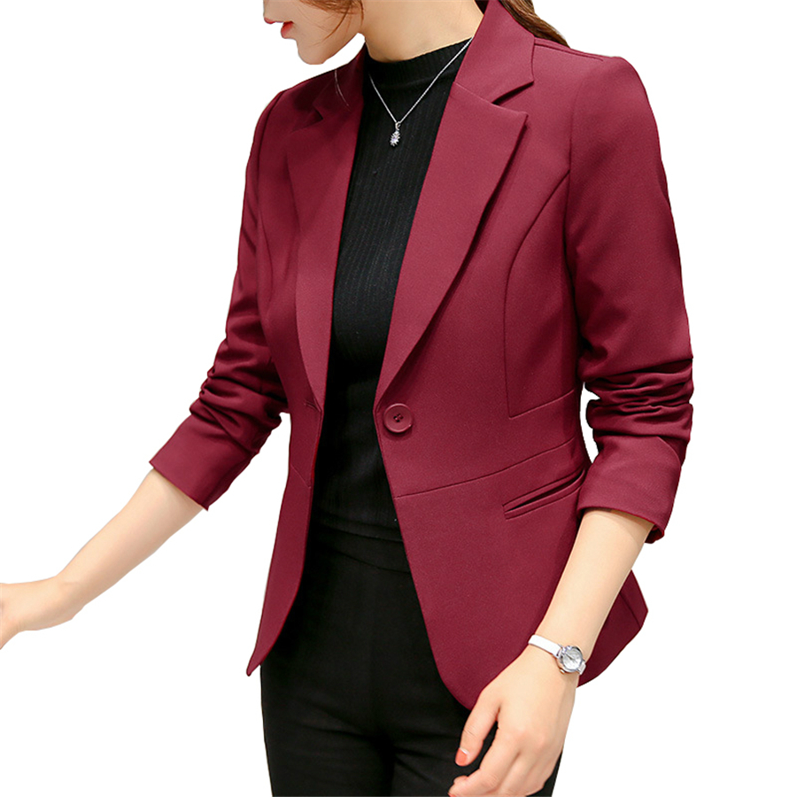 2020 Formal Blazers Black Women Blazer Lady Office Work Suit Pockets Jackets Coat Slim Black Women Blazer Femme Jackets