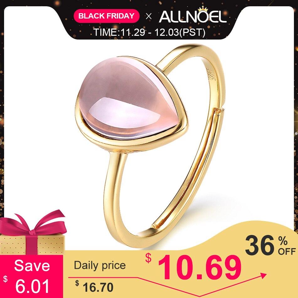 ALLNOEL 925 Sterling Silver Rings For Women 100% Natural Moissanite Garnet Topaz Rose Quartz Gemstones 14K Gold  Luxury Jewelry