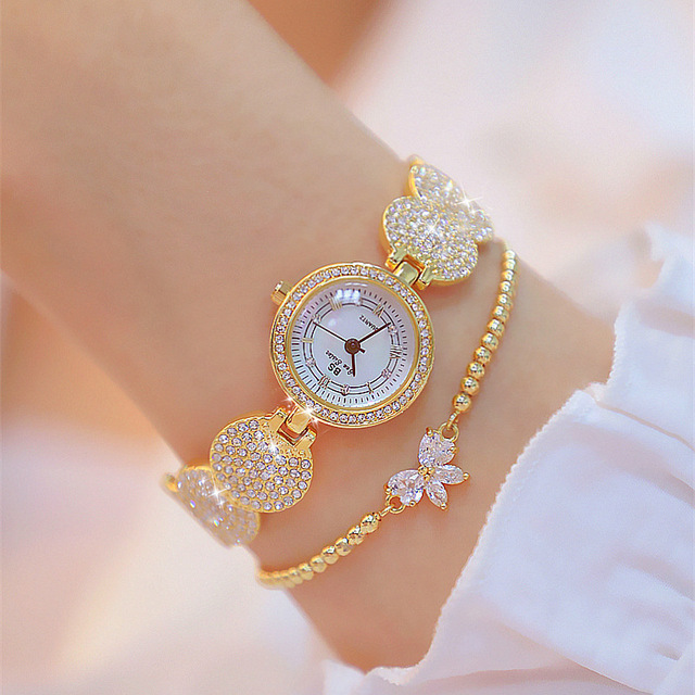 Cheap Yellow Gold Plated Ladies Watch Luxury Fashion Brand Stainless Steel Diamand Wrist Watch Bracelet Gifts for Women Watch