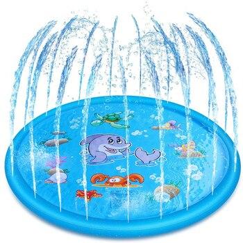 Almohadilla Sprinker inflable, Alfombra de juego de agua para bebés, Alfombra de juego contra salpicaduras de arrugas para exteriores, natación, césped de playa, niños de 170/100CM de diámetro