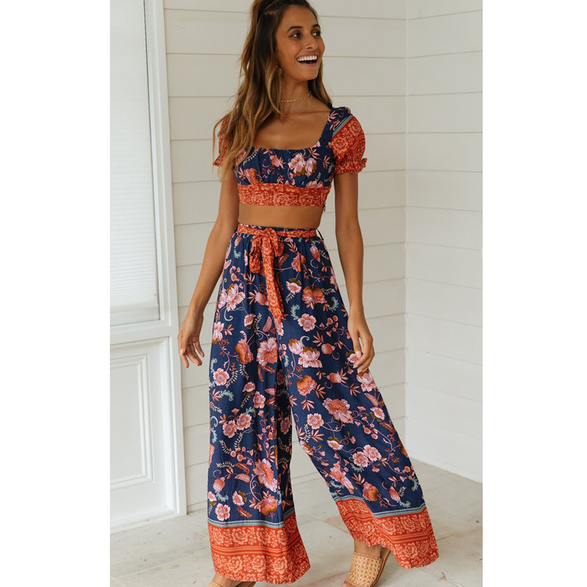 Boho Floral Printed Two Pieces Set 2019 Summer Elastic Slim Short Tops And Long Wide Leg Pants Beach Casual Women Sets Clothes