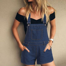 jumpsuit rompers womens Loose Denim jumpsuit romper women playsuit Bib Hole Pants Overalls Shorts jumpsuits With Pocket F801(China)