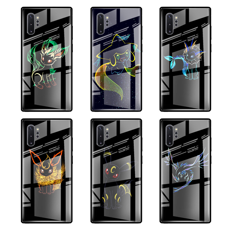 Tempered Glass Case For Samsung Galaxy S20 Ultra S10 5G S10e S8 S9 Plus Note 8 9 10 Lite Phone Cover Cute Cartoon Black Tail