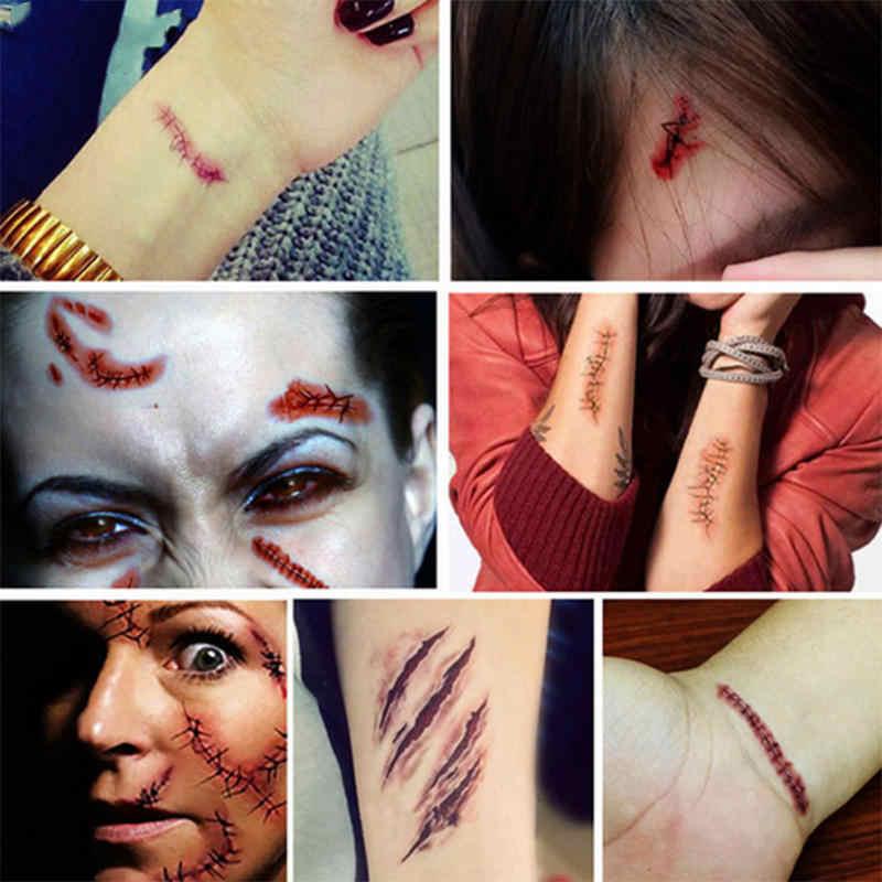 Halloween Zombie Scars tatuaże z fałszywymi strupami krwawe makijaż dekoracja na imprezę halloweenową rany straszny krwi szkody naklejki