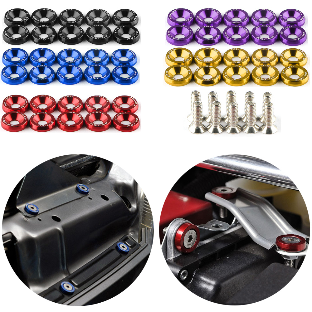 10 pçs colorido m6 jdm carro modificado hex fixadores fender arruela pára-choques do motor côncavo parafusos carro-estilo acessórios do carro de licença
