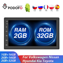 Podofo 2din Car Radio Android Multimedia Player 2 Din GPS Bluetooth Autoradio WIFI Stereo Receiver For Volkswagen Toyota Nissan