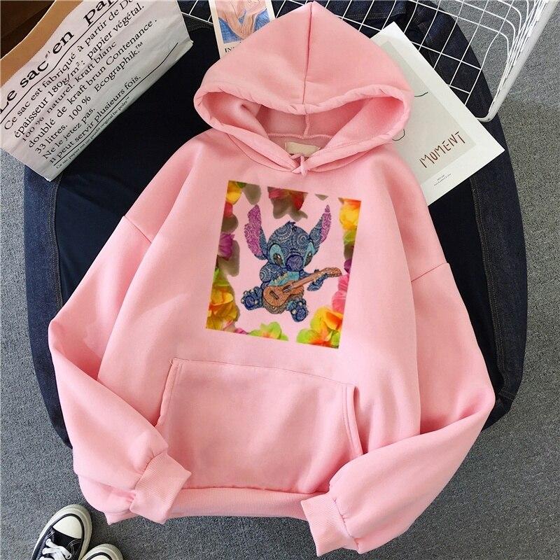 Sudaderas Mujer 2019 Lilo Stitch Hoodies Women Casual Harajuku Women'S Sweatshirt With Hood O-Neck Cotton Swearshirts For Women