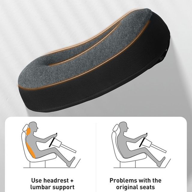 Baseus Car Headrest Waist Pillow 3D Memory Foam Seat Support for Home Office Neck Rest Breathable Car Back Lumbar Cushion Neck Pillow    -