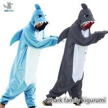 Kigurumi novo animal unisex adulto azul tubarão macacão pijamas dos desenhos animados velo macio halloween festa de família trajes macacões