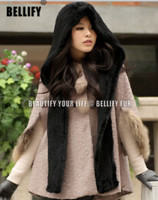 Hot Sale European Trendy Style Luxury Knitted 100/100 Genine Mink fur hat and scarf winter Warm Hijabs Set For women
